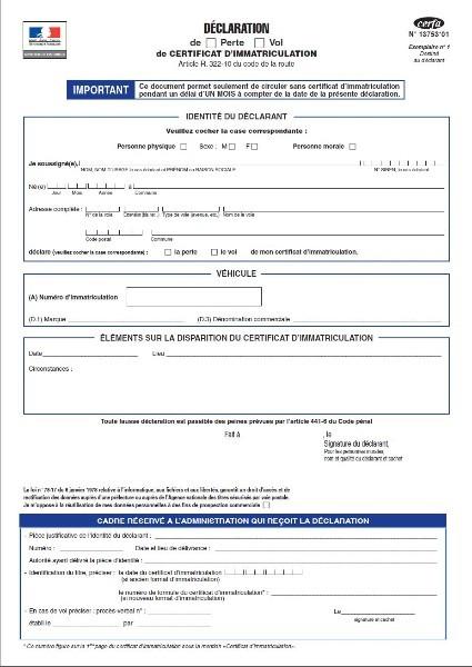 declaration de perte de certificat d 39 immatriculation declaration de perte de certificat d. Black Bedroom Furniture Sets. Home Design Ideas